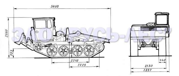 Технические характеристики трелевочников ТДТ-55 габаритные размеры.